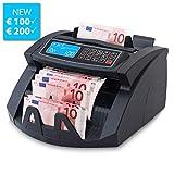 Stückzahlzähler Geldzählmaschine Euro Geldscheine SR-3750 LCD UV/MG/IR von Securina24 (Schwarz -...