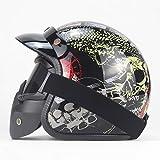 Mdder Vintage 3/4 Lederhelm Faceless Fahrradhelm Motorradhelm Motocross Visier Abnehmbar mit Brille...