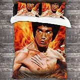 Yellowbiubiubiu Bruce Lee Bettwäsche-Set, 3-teilig, mit 1 Steppdecke, 218 x 178 cm, 2...