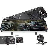 Dashcam,VISGOGO Autokamera 10' Zoll Touch Screen Dashcam Rückspiegel Full HD 1080P Weitwinkel...