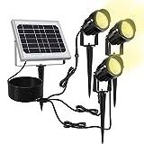 MEIKEE Solar Gartenleuchte 3 Stck mit Erdspie Solarleuchte aus Metall Gartenstrahler IP66...