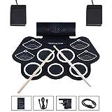 WMDXTM Elektronisches Schlagzeug, Roll up Drum Set 9 Sensitive Drum Pads mit 7A...