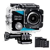 Piwoka Sport Kamera 1080P, Ultra HD 12MP Wasserdicht Action Cam, 170 ° Weitwinkel Unterwasser...