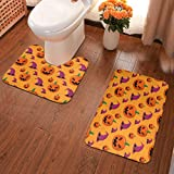 GFHIGFKJ Halloween Pumpkin and Witch Hat Seamless Pattern Non-Slip Bath Mat 2 Pieces Set Includes...