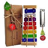 Holz Xylophon für Kinder - mit Mundharmonika und Lieder Karten: Perfekt Glockenspiel f. Kleine...