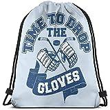 Lassen Sie Die Hockey-Handschuhe Fallen Drawstring-Rucksack-Rucksack-Schulter-Beutel-Turnbeutel