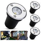 B-right 4er LED Bodeneinbaustrahler, 3W Bodeneinbauleuchte für Außen, Bodenlampe Außen, rostfrei,...