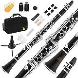 Eastar Student Bb Klarinette, B Flache Klarinette Schwarz ECL-300 mit Mundstück, Koffer, Verbinder,...