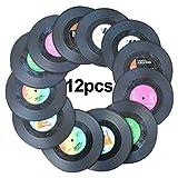 Awtlife12 Stück Retro CD Schallplatten-Untersetzer Getränke-Untersetzer für Hochzeitsbedarf