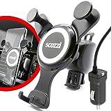 scozzi universal KFZ Einhand Handy Halterung Lüftung + Micro-USB Schnell Ladekabel mit 2400 mAh,...