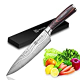 PAUDIN Kochmesser Küchenmesser 20cm Profi Messer Chefmesser Allzweckmesser aus hochwertigem Carbon...