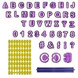 Ealicere 40 Stck Fondant Ausstecher Set und 1 Stck Keksstempel, Tortendeko Ausstechform Buchstaben,...