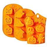 Haoanx 3 Pcs Silicone Baking Mold Halloween Ghost Pumpkin DIY Cake Biscuit Mould Tools