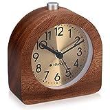 Navaris Analog Holz Wecker mit Snooze - Retro Uhr Halbrund mit Ziffernblatt Gold Alarm Licht - Leise...