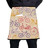 LIANGWE Womens Kitchen Apron Excited Art Sports Competition Cycling Waitress Apron for Women with...