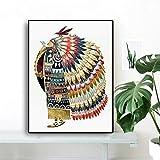 Geiqianjiumai Aquarell Indian Feather Native Bird Poster und Drucke skandinavischen Baby Nursery...
