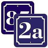 Hausnummer Schild 2mm Aluverbund, blau 10x10 cm, fr Zaun, Gartentor, Tr