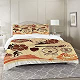 DIIRCYB Bettbezug-Bettwäsche,reich verzierten Hibiskus Hintergrund,Mikrofaser-1 Bettdecke-Bettlaken...