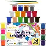 Creative Deco Kinder-Farben Fingerfarbe Bastel-Farbe Plakat-Farbe Set | 20 ml x 24 Mehrfarbige...