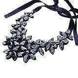 Yazilind Flower Ribbon Kette Halskette Anhänger Bib Crystal Elegante Halsreif Klobige Kragen Frauen...