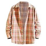Herren Shirtjacke Plaid Revers Langarmshirts Hemd Knopf Casual Top Bluse Herbst Winter Langarm...