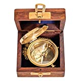 aubaho Kompass mit Holzbox Maritim Schiff Dekoration Navigation Messing Antik-Stil
