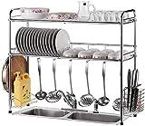 Home Fashion Einfachheit 2Tier Edelstahl Verstellbare Geschirrablage, über Der Spüle Küchenablage...