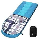SONGMICS Schlafsack mit Kompressionsbeutel, breiter Deckenschlafsack, Komforttemperatur 5-15°C, 3-4...