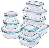 Glas-Frischhaltedosen 18 Stück [9 Behälter + 9 Deckel] - Glasbehälter - Transparente Deckel - BPA...
