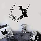 Tianpengyuanshuai Vinyl Wandaufkleber Halloween Hexenbesen Magische Aufkleber Kinderzimmer...
