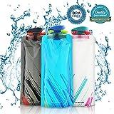 Nasharia 700ML Faltbare Wasserflaschen Set von 3 ━ BPA Frei, Wiederverwendbar Trinkrucksäcke für...