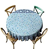 Elvoes Funny Round Tablecloth Fashion Circle Table Cover - Aqua Antique Greek Border Mosaic Tile...