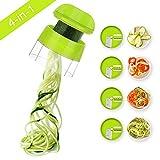 Sedhoom Spiralschneider Hand für Gemüsespaghetti, 4 in 1 Kingen Gemüse Spiralschneider,...