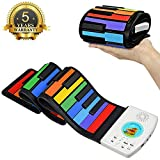 Hokaime 49 Key Piano Keyboard Kinder Tragbarer Soft Handscroll Controller Synthesizer Roll Up Piano...