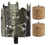 Fackel Gartenfackel Eule Metall + Stiel+2 x Brennmittel