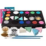 HEYSAMO Kinderschminke Set Face Paint Kinder Schminkset Ideal für Partys Mädchen, Schablonen,...