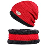 CCJX 2-Pieces Winterbeanie Hut Schal Set Warme Wollmütze Dicke Fleece-Futter-Winter-Hut Für...