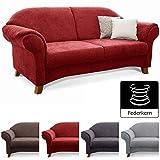 Cavadore 2-Sitzer Sofa Maifayr mit Federkern / Kleine Couch im Landhausstil mit Holzfüßen / 164 x...