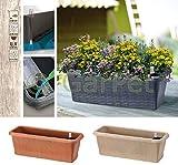 Blumenkasten mit Rattan Optik Wasserspeicher Balkon Kasten Pflanz Kübel Gefäß beige 40 cm