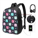 Wasserdichter Laptop-Rucksack mit USB-Ladeanschluss, Kopfhörer-Anschluss, passend für 43,2 cm (17...