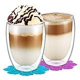 BOQO Doppelwandiges Glasbecher,Trinkglser,Wasserglas,Glsersets und Untersetzer350ml/2er Set)