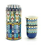 Images d'Orient Geschenkset 2 in 1 Metalldosen mit 2 x 90ml Espressotassen Espressobecher...