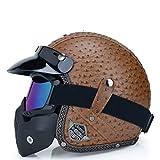 IAMZHL Offenes Gesicht 3/4 Helm personalisierte Herren Vintage Retro Motorrad Cascos de...