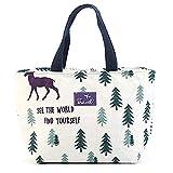 Grapdopk Stoff Baumwolle und Leinen Cartoon tragbare Isolationstasche Outdoor Handschellen Lunch Bag...