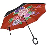 ETGeed Kimono Blumenmotiv Inverted Umbrella ReverseUpside Down Umbrella