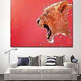 N / A Wandmaler dekorieren Tier wütend rosa Leopard Malerei Wohnzimmer und Poster Rahmenlos