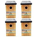4 x Handy Home and Garden Druckbehandelter Hölzerner Wildvogelhaus-Standardholz-Nistkasten HHGBF017...
