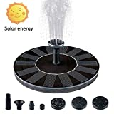 1W Solar Springbrunnen Solar Teichpumpe mit Solar Panel mit 4 Fontnenstile Eingebaute Batterie...