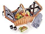 Snger Picknickkorb Sylt aus Weide fr 4 Personen, Hochwertiger Weidenkorb mit Picknickdecke und...