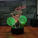 Fahrrad 3D Vision Nachtlicht Kreative Bunte Touch-Aufladung LED Stereo LED Nachtlicht 7 Farbwechsel...